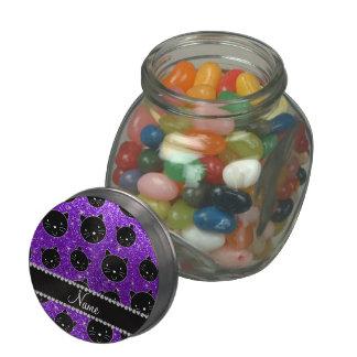 Custom name indigo purple glitter black cat faces glass jars