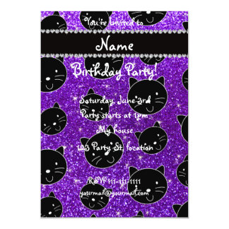 Custom name indigo purple glitter black cat faces 5x7 paper invitation card