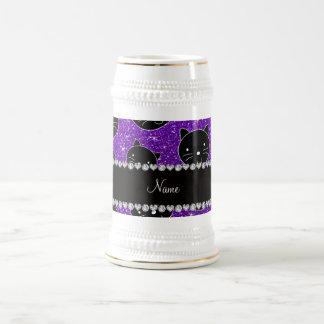 Custom name indigo purple glitter black cat faces 18 oz beer stein
