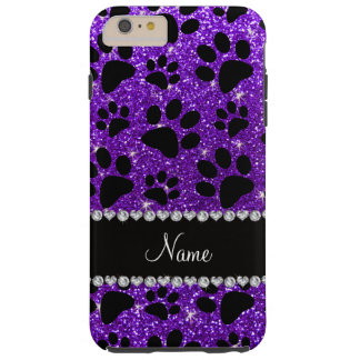 Custom name indigo purple glitter black dog paws tough iPhone 6 plus case