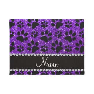 Custom name indigo purple glitter black dog paws doormat