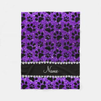 Custom name indigo purple glitter black dog paws fleece blanket