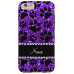 Custom name indigo purple glitter black dog paws iPhone 6 plus case