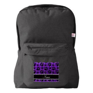 Custom name indigo purple glitter black dog paws backpack