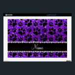 "Custom name indigo purple glitter black dog paws laptop skins<br><div class=""desc"">Modern, trendy and girly Personalized custom name indigo purple glitter (not real glitter) with an animal black dog paws (animal print) pattern with a pretty black diamond rhinestone stripe (not real diamonds) with beautiful hearts and dots personalized with just add your name gifts or monogram gifts or your initials. Ideal...</div>"