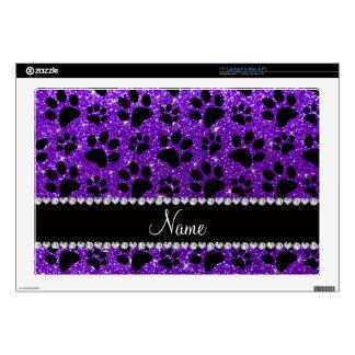 Custom name indigo purple glitter black dog paws laptop skins