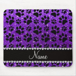 Custom name indigo purple glitter black dog paws mouse pad