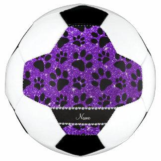 Custom name indigo purple glitter black dog paws soccer ball