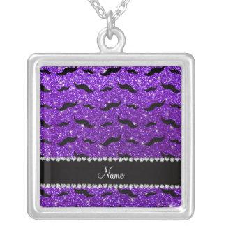 Custom name indigo purple glitter black mustaches custom necklace