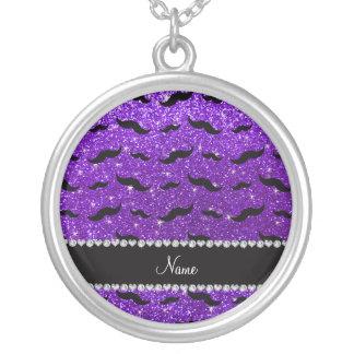 Custom name indigo purple glitter black mustaches necklaces