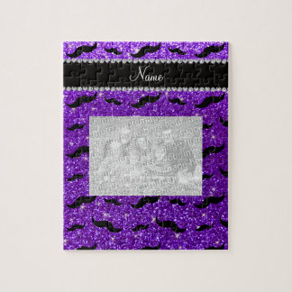 Custom name indigo purple glitter black mustaches puzzles