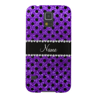 Custom name indigo purple glitter black polka dots galaxy s5 case