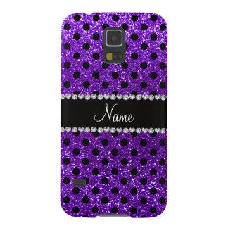 Custom name indigo purple glitter black polka dots galaxy s5 cases