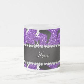 Custom name indigo purple glitter boston terrier frosted glass coffee mug