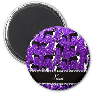 Custom name indigo purple glitter boston terrier magnet