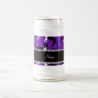Custom name indigo purple glitter boston terrier 18 oz beer stein