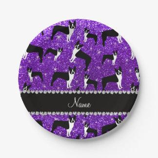 Custom name indigo purple glitter boston terrier paper plate