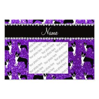 Custom name indigo purple glitter boston terrier photo