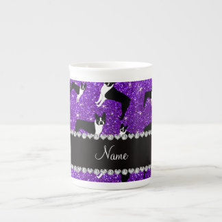 Custom name indigo purple glitter boston terrier tea cup