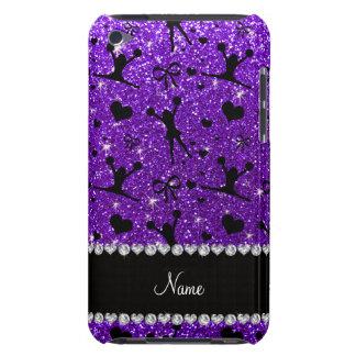 Custom name indigo purple glitter cheerleading iPod touch cases