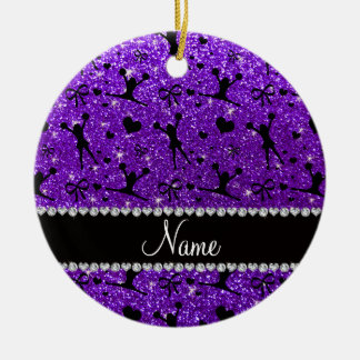Custom name indigo purple glitter cheerleading ceramic ornament