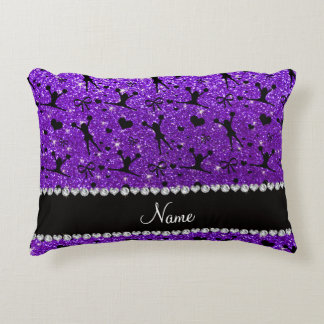 Custom name indigo purple glitter cheerleading accent pillow