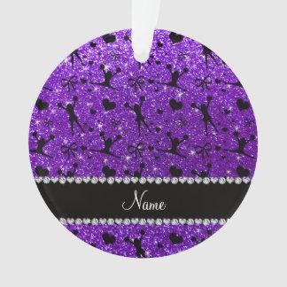 Custom name indigo purple glitter cheerleading ornament