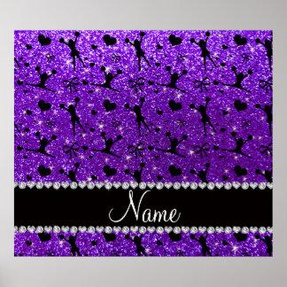 Custom name indigo purple glitter cheerleading print