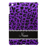 Custom name indigo purple glitter cheetah print cover for the iPad mini