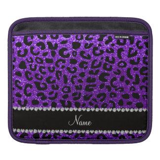Custom name indigo purple glitter cheetah print iPad sleeves