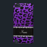 "Custom name indigo purple glitter cheetah print iPod touch (5th generation) case<br><div class=""desc"">Modern, chic and trendy personalized custom name indigo purple glitter cheetah spots pattern (wild animal print) with a black diamonds stripe (not real diamonds) with beautiful hearts and dots personalized with your name gifts or monogram gifts or your initials. Pretty girly cheetah print gift ideas for women, teenagers and girls....</div>"