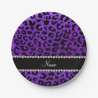 Custom name indigo purple glitter cheetah print paper plate
