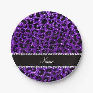 Custom name indigo purple glitter cheetah print 7 inch paper plate