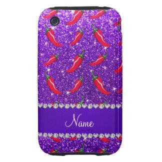 Custom name indigo purple glitter chili pepper tough iPhone 3 covers