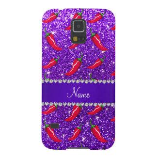 Custom name indigo purple glitter chili pepper galaxy s5 case