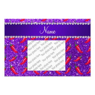 Custom name indigo purple glitter chili pepper photo print