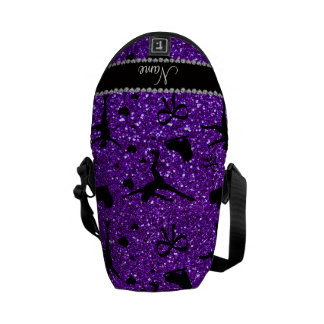 Custom name indigo purple glitter figure skating courier bag