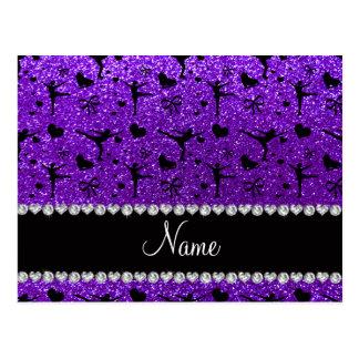Custom name indigo purple glitter figure skating postcard
