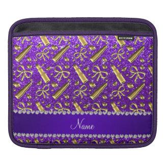 Custom name indigo purple glitter gold lipstick sleeves for iPads