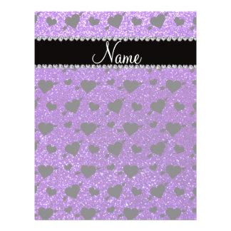 Custom name indigo purple glitter hearts arrows flyer