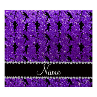 Custom name indigo purple glitter lacrosse players posters
