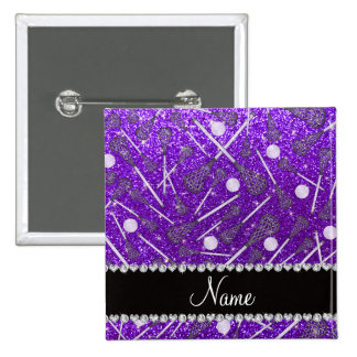 Custom name indigo purple glitter lacrosse sticks button