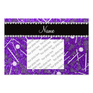 Custom name indigo purple glitter lacrosse sticks photograph