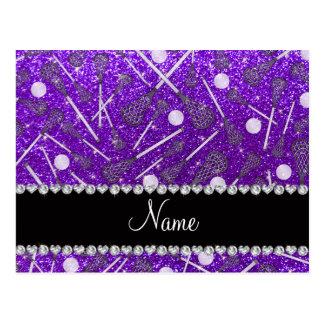 Custom name indigo purple glitter lacrosse sticks postcard