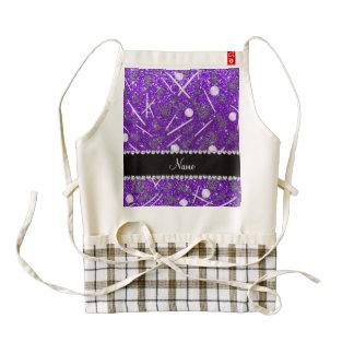 Custom name indigo purple glitter lacrosse sticks zazzle HEART apron