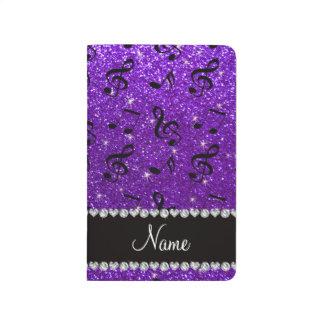 Custom name indigo purple glitter music notes journal