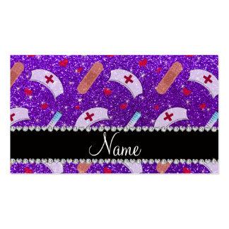 Custom name indigo purple glitter nurse hats heart business card template
