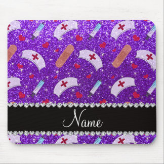 Custom name indigo purple glitter nurse hats heart mouse pad