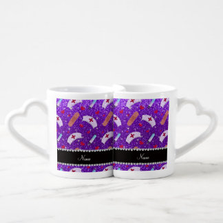 Custom name indigo purple glitter nurse hats heart couples' coffee mug set