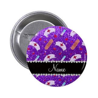Custom name indigo purple glitter nurse hats heart pinback button